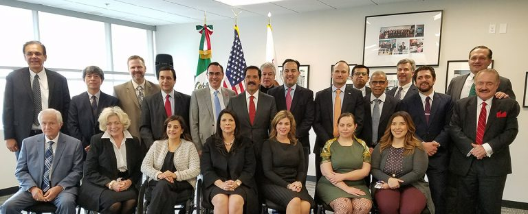 Oscar Franck Terrazas, ProMéxico´s Counseling Board member, speaks on California, USA and Mexico Trade, during Mexico´s Senate Delegation Visit